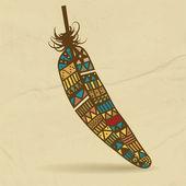 Ilustración de vector pluma azteca de dibujado a mano. — Vector de stock
