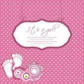为您的文本与脚步骤和帧婴儿女孩洗澡卡 — 图库矢量图片