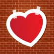 Heart on the brick wall — Stockvektor