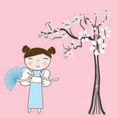Asian girl under spring floral tree. Vector. — Stock Vector