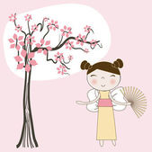 Asian girl under spring floral tree. Vector. — Stock Vector