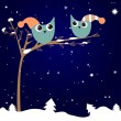 Christmas greeting card with owls couple — Vector de stock