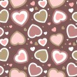 Seamless hearts background in pastel colors — Imagens vectoriais em stock