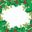 Christmas card with holly berry leaves on vintage background — Stock Vector