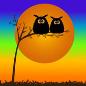 Owls couple on the tree. — Stock Vector