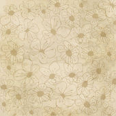 Vintage floral background with cherry tree flowers on the old paper backdro — Vettoriale Stock