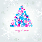 Abstract multicolored christmas tree on the frozen background. — Stock Vector