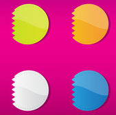 Set of four multicolored round labels. — Stock Vector