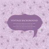 Vintage floral background with violet flowers and frame — Stock Vector