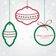 Christmas vector set of fir tree and evening balls, new year's clock and festive bells — ストックベクタ
