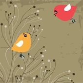 Cute greetings card with birds on a swing — Wektor stockowy