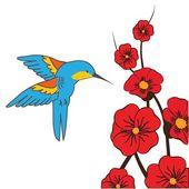 Himmingbird moth feeding on flowers in summer — Stock Vector