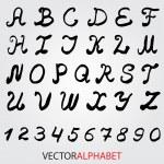 Hand drawn ink alphabet.Vector format — Stock Vector