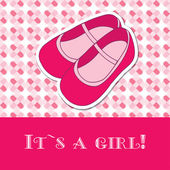 Baby girl shower card with small boots on seamless pattern and frame for your text — Stock Vector