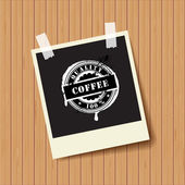 "Black photo frame with rubber sign ""Coffee"". — Stock Photo"