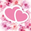 Pink floral card with two hearts — Imagen vectorial