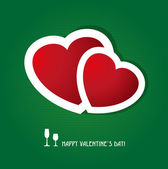 Two red hearts on dark green background. — Stok Vektör