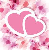 Růžové květinové karta se dvěma srdce — Stock vektor