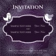Wedding invitation with two cute swan birds in bride and groom costumes — Stock Vector