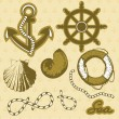Stock Vector: Vintage marine elements set. Includes anchor, rope, wheel, and shells.