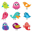 Set of different cute birds. — Stock Vector