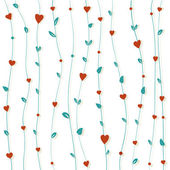Abstract floral background with hearts and flowers — Stok Vektör