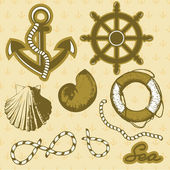 Vintage marine elements set. Includes anchor, rope, wheel, and shells. — Stock Vector