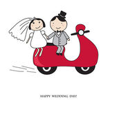 Bride and groom on the red scooter. — Stock Vector