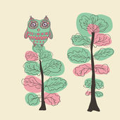 Owl on the tree. Hand drawn vector illustration. — Stock Vector