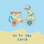 Summer illustration with scooter on the beach side. — Stok Vektör
