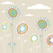与老式卡手绘制的花朵 — 图库矢量图片