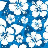 Hawaiian hibiscus çiçek ile seamless modeli — Stok Vektör