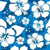 Seamless pattern with hawaiian hibiscus flower — Cтоковый вектор
