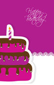 Birthday card with cute cake and candle — Stock Vector