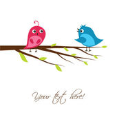 Cute birds on the tree branch — Stock Vector