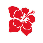 Red Hibiscus flower — Vector de stock