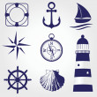 Set of vintage nautical labels, icons and design elements — Stock Vector #32207067