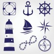 Set of vintage nautical labels, icons and design elements — Stock Vector #32209245
