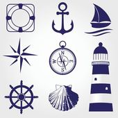 Conjunto de etiquetas vintage náuticas, iconos y elementos de diseño — Vector de stock