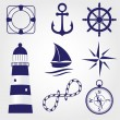 Stock Vector: Set of marine symbols