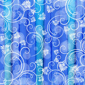 Floral pattern on the striped watercolor background — Stock Vector