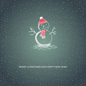 Christmas card with handdrawn snowman — ストックベクタ