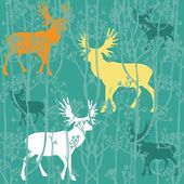 Seamless christmas pattern with deers in the forest — Vector de stock