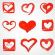 Set of Beautiful greeting vintage Valentine's card with red heart. — Stock Vector