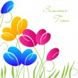 Abstract background with multicolored bright tulip flowers — Wektor stockowy  #45513683