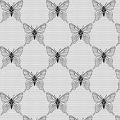 Black and white seamless pattern with butterflies — Stock Vector