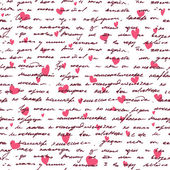 Love background with seamless hand drawn text and small hearts. — Stock Vector