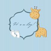 Baby boy arrival announcement card. — Stock Vector
