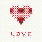 Valentine's card with embroider heart — Stock Vector