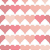 Seamless pattern with embroidered hearts — Stock Vector